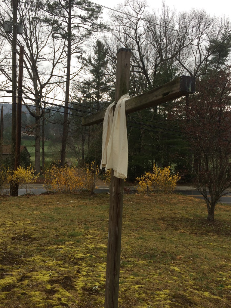 white draped cross